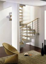 square spiral staircase with a lateral stringer (metal frame and wooden steps) LASER  novalinea spa