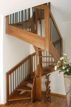 square spiral staircase with a lateral stringer (wooden frame and steps) AMBRA Scale nilur