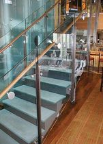 straight floating staircase for commercial buildings  Aag-glass