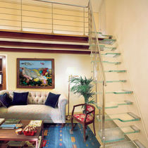 straight floating staircase (metal frame and glass steps) NAUTICAL Marretti