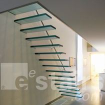 straight glass floating staircase TRE-474 EeStairs America
