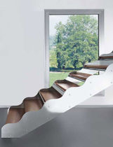 straight staircase with a lateral stringer (metal frame and wood steps) SERIE E-TO EDILCO