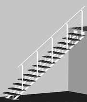 straight staircase with a lateral stringer (metal frame and wood steps) ATRIUM LINEO DUO Atrium