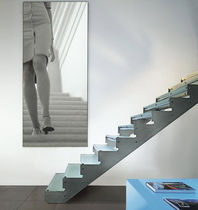 straight staircase with a lateral stringer (stainless steel frame and glass steps) SERIE E-TT EDILCO