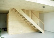 straight staircase with a lateral stringer (wooden frame and steps)  Haring Engineering Ltd