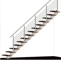 straight staircase with central stringer (metal frame and wood steps) ATRIUM LINEO Atrium