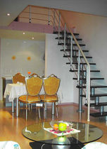 straight staircase with central stringer (metal frame and wood steps, for small space) R SERIES: R11 Hangzhou Mansion Material Co., Ltd.