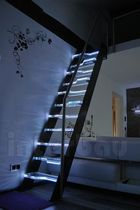 straight staircase with a lateral stringer (metal frame and glass steps) MODEL 200 Interbau