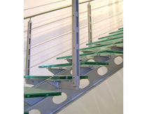 straight staircase with a lateral stringer (metal frame and glass steps)  OZONE OVERSEAS LTD.