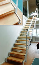 straight staircase with a lateral stringer (metal frame and wood steps)  Nautilus