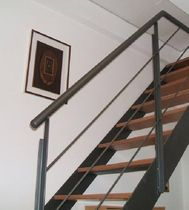 straight staircase with a lateral stringer (metal frame and wood steps)  TUTTOFARE di Andriolo Giordano