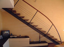 straight staircase with a lateral stringer (metal frame and wood steps) MIKA LINEAR Linea Scale