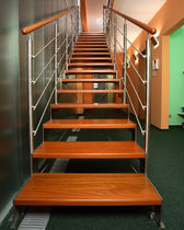 straight staircase with a lateral stringer (metal frame and wood steps)  Kevala Stairs Limited