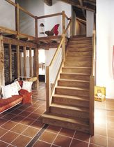straight staircase with a lateral stringer (wooden frame and steps) AUBRAC 1 ESCALIERS EBA