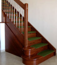 straight staircase with a lateral stringer (wooden frame and steps) ERGOS PLEXIGLASS  MACCURO SCALE