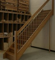 straight staircase with a lateral stringer (wooden frame and steps)  Stair Plan