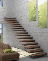 straight wood floating staircase EGO TREPPENMEISTER