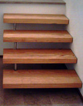straight wood floating staircase  Createam-design
