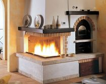 traditional corner fireplace (wood-burning closed hearth , with oven) EXCALIBUR Amiata Caminetti