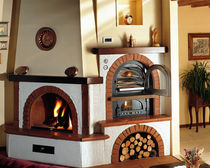 traditional corner fireplace (wood-burning closed hearth , with oven) ATLANTIDE Amiata Caminetti