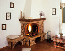 traditional corner fireplace (wood-burning open hearth) BAIOCCO Amiata Caminetti