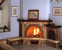 traditional corner fireplace (wood-burning open hearth, with oven) AUREO Amiata Caminetti