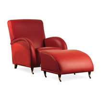 traditional leather armchair with footstool MARYLAND  BERTO SALOTTI