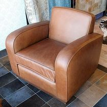 traditional leather club armchair POLO FUR DECO