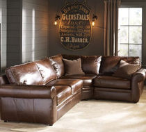 traditional leather corner sofa PEARCE POTTERYBARN
