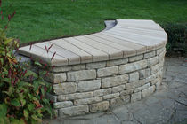 traditional public bench in wood and stone XYLORIPPLE Chaircreative