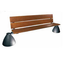 traditional public bench in wood and metal (with backrest)  LENZI