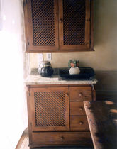 traditional sideboard with wall shelves  Createam-design