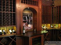 wine cellar with integrated wine dispenser CELLAR A Kessick Wine Cellars