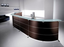 wood and glass reception desk EDISON by Fabio GIGLI Della Rovere