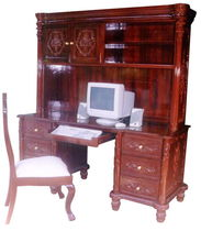 wood and leather classic style writing desk with shelf ANGEL Andrews Wood Crafts