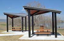 wood and metal shelter  BYO Playground, Inc.