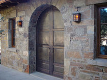 wood arched entrance door WIS'A LB Albertini Spa
