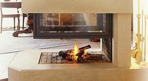 wood-burning closed hearth for 3 sided fireplaces (retractable door) EPI TOTEM fire