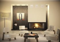 wood-burning closed hearth for 3 sided fireplaces (retractable door) 3 FACES HORIZON 901 TOTEM fire