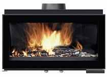 wood-burning double-sided fireplace insert V100 L FONDIS