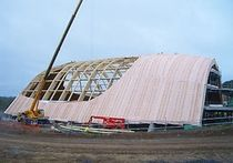 wooden frame supported tensile structure Waterworld, Bluestone, Wales Haring Engineering Ltd