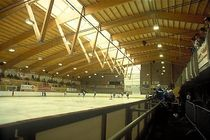 wooden frame supported tensile structure Zingel skating rink, Seewen Haring Engineering Ltd