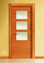 wooden swing door with small window pane LT3VC BAMAR PUERTAS