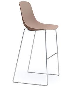 bar chair sled base chrome steel painted steel