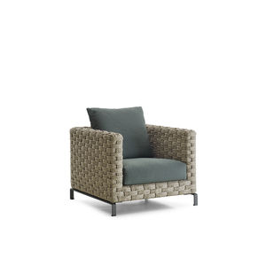 contemporary armchair fabric synthetic fiber with removable cushion - Outdoor Mobel Set Tribu