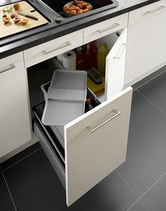 kitchen trash can hygienic builtin plastic