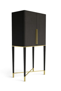 Superieur Contemporary Bar Cabinet / Brass / Ash / With Built In Light