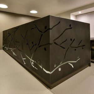 Corner Reception Desk Metal Illuminated For Hotels