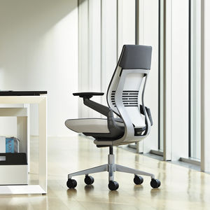 Contemporary Office Armchair / Fabric / Leather / Steel