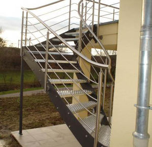 Half Turn Staircase / Metal Steps / Metal Frame / Without Risers